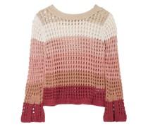 Color-block Open-knit Cotton-blend Sweater