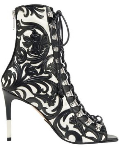 Lace-up Embossed Leather Ankle Boots Black