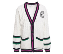 Embroidered Striped Cable And Open-knit Cotton-blend Cardigan