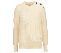 Fringed-trimmed Paneled Bouclé And Cable-knit Wool Sweater Ecru