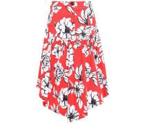 Asymmetric Floral-print Stretch Cotton-ottoman Skirt