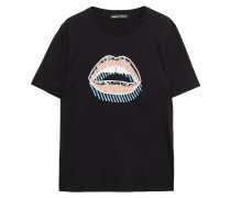 Crystal And Sequin-embellished Cotton-jersey T-shirt