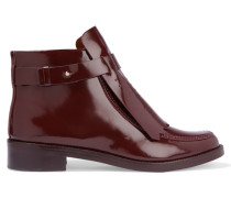 Hyde Perforated Glossed-leather Ankle Boots Burgunder