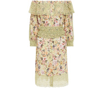 Off-the-shoulder Crocheted Lace-paneled Floral-print Voile Mini Dress