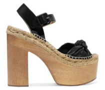 Lola knotted textured-leather platform sandals