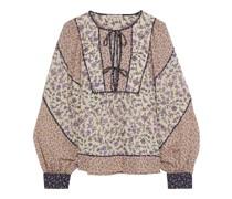 Colette Paneled Floral-print Cotton-blend Blouse