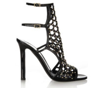 Submission studded patent-leather sandals