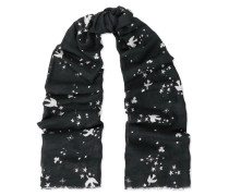 Fringed Printed Wool And Cashmere-blend Scarf Schwarz
