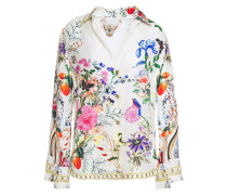 Woman Crystal-embellished Floral-print Silk-twill Shirt White