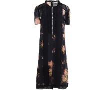 Bedrucktes Kleid aus Cupro mit Besatz aus Lochstickerei
