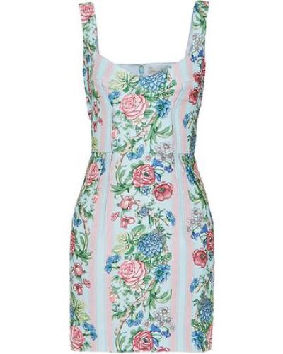 Judita Floral-print Cloqué Mini Dress Sky Blue Size 16