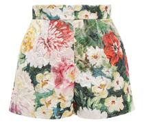 Shorts aus Brokat aus Einer Baumwollmischung mit Floralem Print und Metallic-effekt