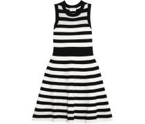 Pointelle-trimmed Striped Cotton Mini Dress Schwarz