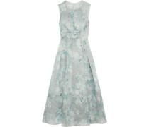 Metallic floral-print silk-blend organza gown