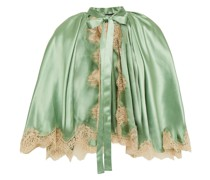 Lace-trimmed Pleated Silk-blend Satin Cape