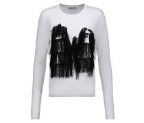 Komondor Fringed Embroidered Merino Wool-blend Sweater Weiß