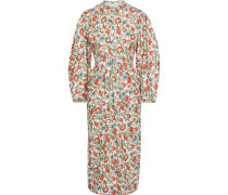 Zilda Floral-print Silk And Wool-blend Twill Midi Dress