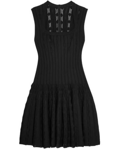Laser-cut Knitted Dress Black