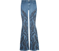 Ryley Low-rise Broderie Anglaise-trimmed Flared Jeans Heller Denim