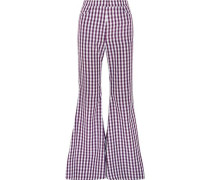 Gingham poplin flared pants