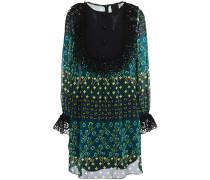 Crochet-trimmed Floral-print Georgette Mini Dress