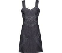 Lace-up Embroidered Denim Mini Dress Dunkler Denim