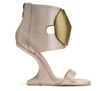 Disc Embellished Metallic Textured-leather Wedge Sandals