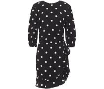 Ruffled Polka-dot Crepe Mini Dress
