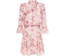 Gerafftes Minikleid aus Georgette mit Floralem Print