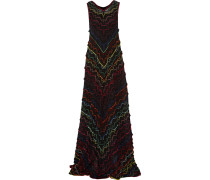 Ruffled Metallic Crochet-knit Maxi Dress Mehrfarbig