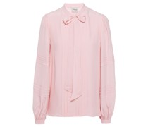 Jade Pussy-bow Pintucked Crepe De Chine Blouse