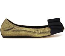Bow-embellished Metallic Cracked-leather Ballet Flats