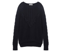 Fringed Textured-knit Cotton Sweater Navy