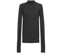 Metallic Jacquard-knit Turtleneck Top