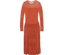 Open And Stretch-knit Dress Ziegelrot