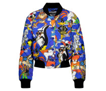 Quilted Printed Silk-twill Bomber Jacket Mehrfarbig