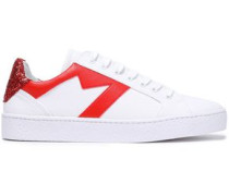 Glitter-paneled Leather-trimmed Canvas Sneakers White