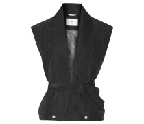Night Flicker Belted Quilted Shell Gilet Schwarz
