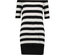 Off-the-shoulder Striped Stretch-jersey Mini Dress Schwarz
