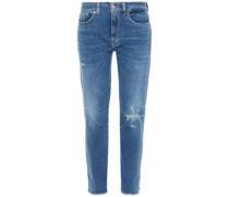 Distressed Low-rise Slim-leg Jeans