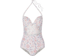 Zephyr mesh-paneled quilted printed swimsuit
