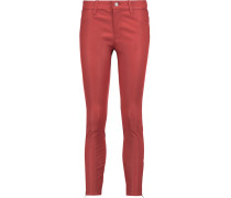 Cropped Stretch-leather Skinny Pants Papaya