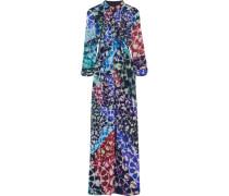 Mosiac Printed Silk-chiffon Gown Mitternachtsblau