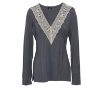 Woman Lace-trimmed Modal-blend Jersey Pajama Top Anthracite
