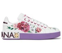Sneakers aus Leder mit Floralem Print und Logoverzierung