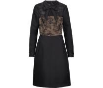 Bow-embellished lace-paneled satin-twill dress