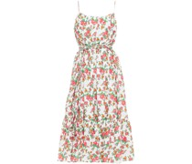 Lea Gathered Floral-print Cotton-poplin Midi Dress