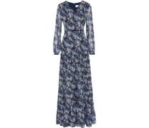 Velvet-trimmed Printed Chiffon Maxi Dress