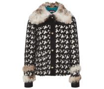 Faux Fur-trimmed Twill Coat Weiß