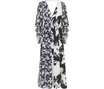 Paneled Printed Georgette, Taffeta And Hammered Crepe Midi Dress